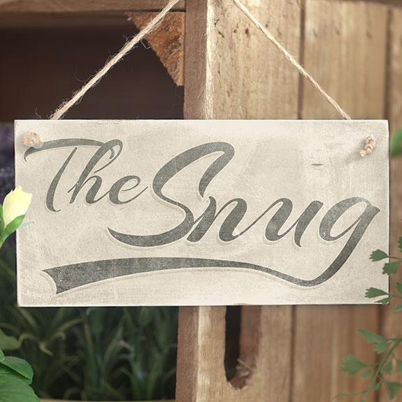The snug handmade shabby chic hanging wooden door sign - Wooden door signs for home ...
