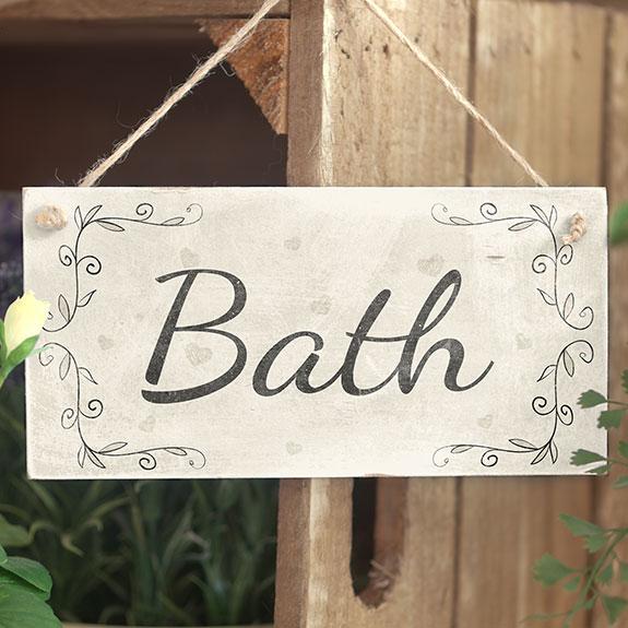 Bath handmade rustic country home decor wooden door sign - Wooden door signs for home ...