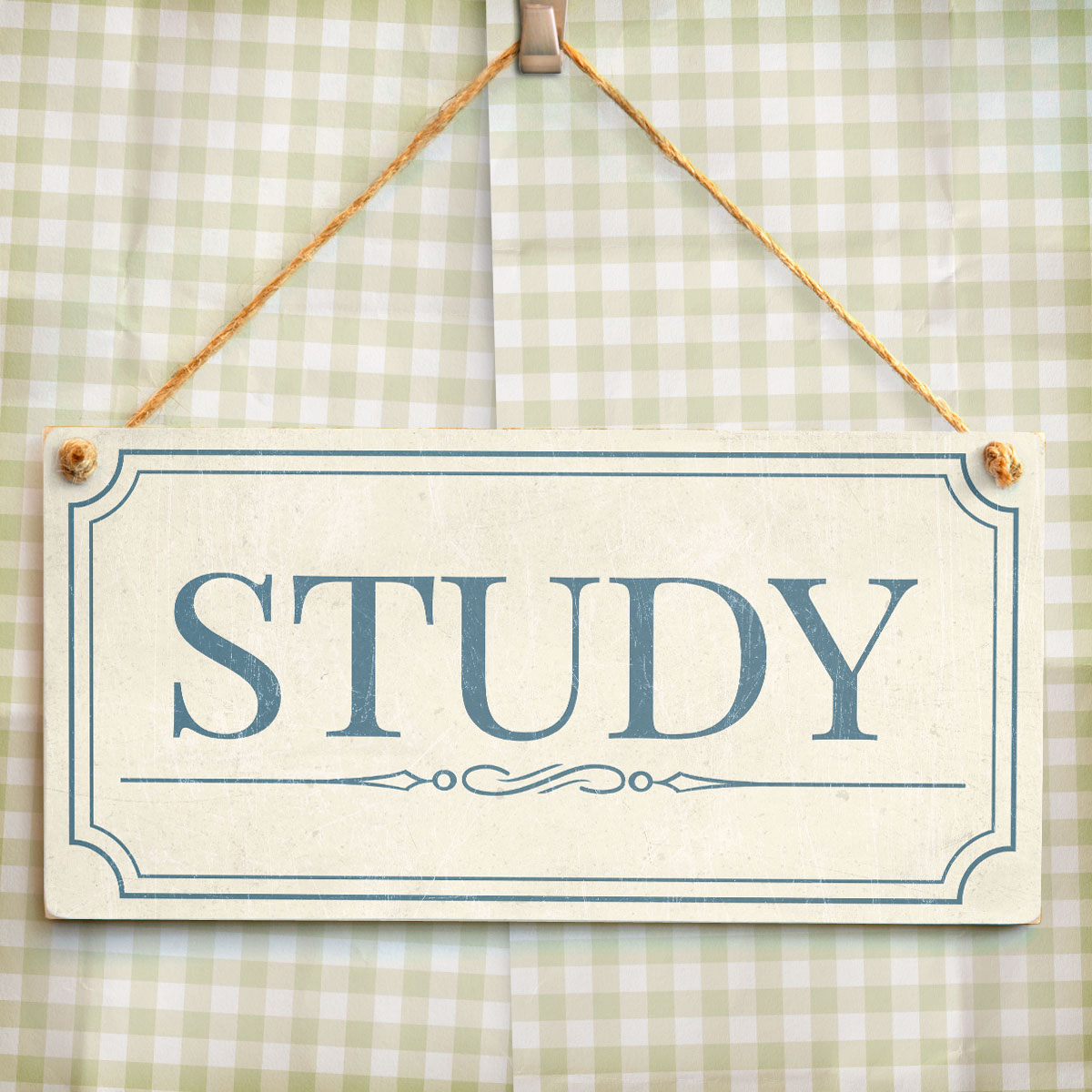 Study Shabby Chic Style Home Accessory Gift Sign