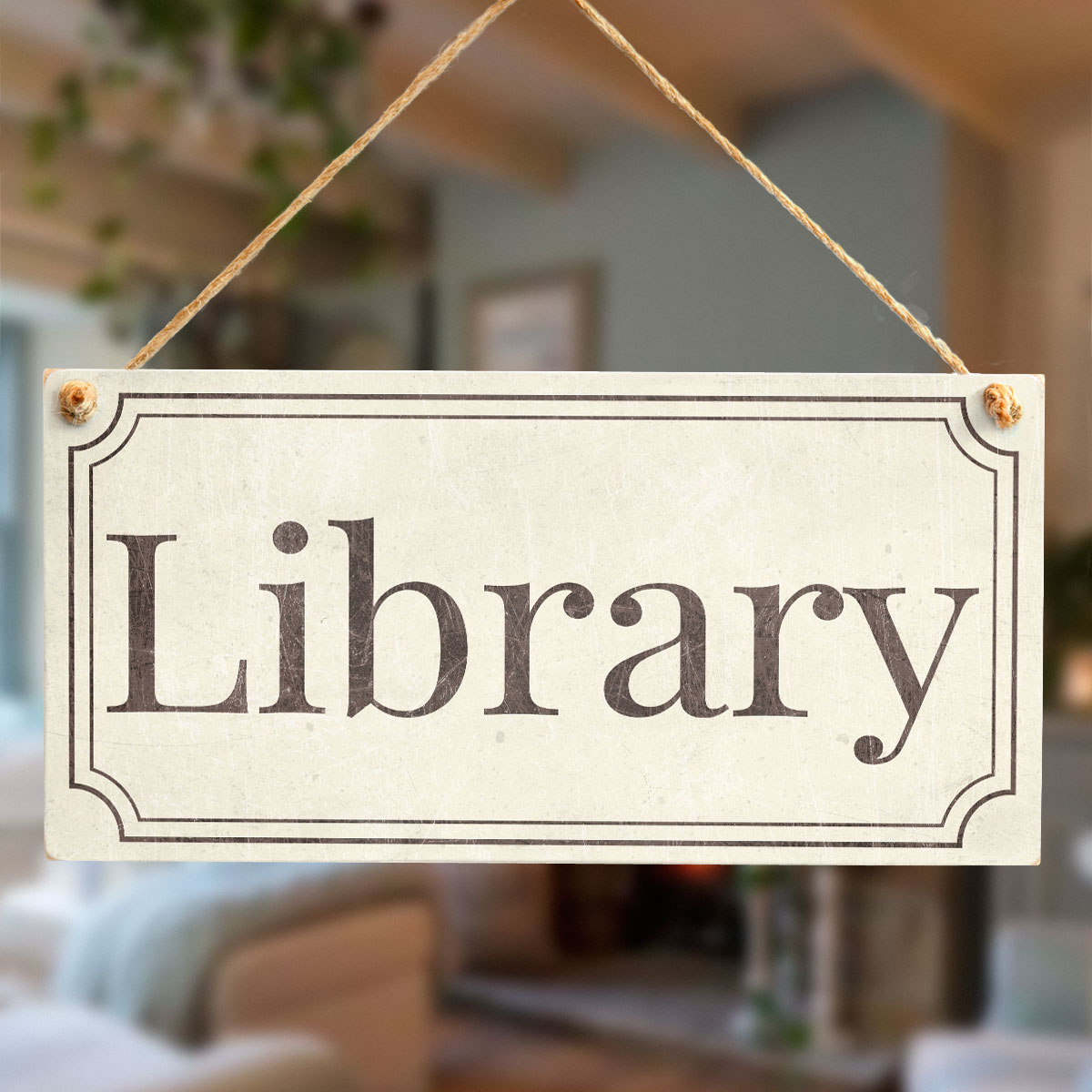 Library Stylish Vintage Style Handmade Library Door Sign